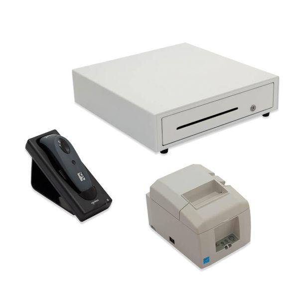 Set POS Barcodescanner Kassenschublade und Bondrucker